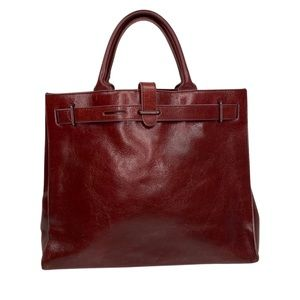 Furla rich brown leather tote